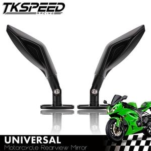 Image 1 - Full CNC Universal Motorcycle Racing Rearview mirror Racer Aluminum For Yamaha R3 R6 FZ6 TMAX530 kawasaki Z750R Z1000 KTM SUZUKI