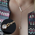 Fashion Luxury Shiny Rhinestone Pendant Chain Crystal Jewelry Collar Choker Chunky Bib Statement Long Necklace VC434 P0.41