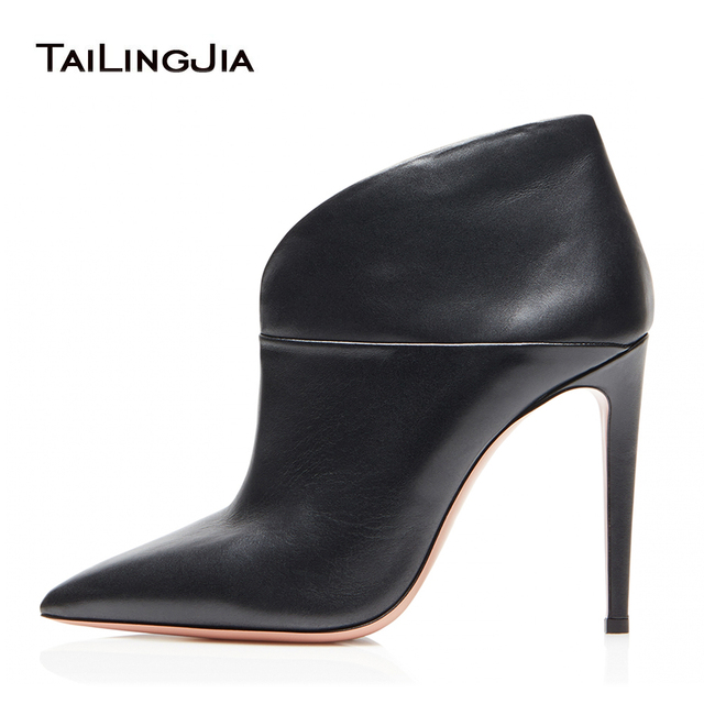 Women Black Pointed Toe High Heel Ankle Boots Stylish Slip on Booties Ladies Dress Shoes Evening Stiletto Heels Large Size 2019