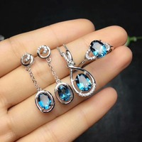 925 sterling silver inlaid with natural London Lentopa stone suit ring necklace earrings party party gift
