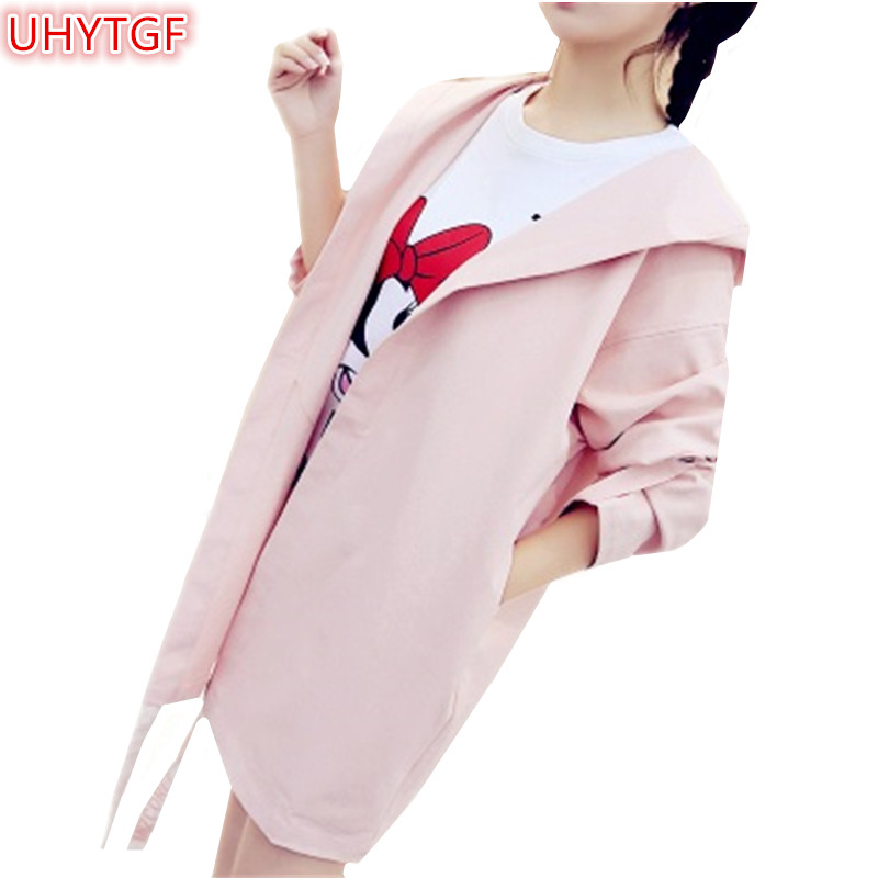 UHYTGF 2018 New Spring clothing Windbreaker coat Long sleeve Hooded Medium long section   Trench   Coat Loose Casual wild Tops 24