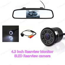 Wholesale  Car Rear View Mirror Monitor 4.3 inch with  LED Night Vision Car Rearview Reversing Camera Parking Monitor System