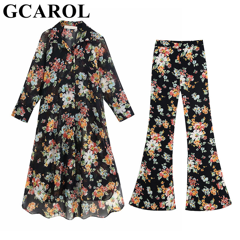 GCAROL 2019 Women'sets Floral Black Long Shirt And Flare Pants 2 Pieces Sets Asymmetric Blouse 2 Pockets Full Pants Outfits