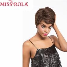 Miss Rola Haar Braziliaanse Haar Straight # 2 Kleur Korte 100% Menselijk Haar Niet-Remy Hele Machine Pruiken 1.75-4 Inches Gratis Verzending
