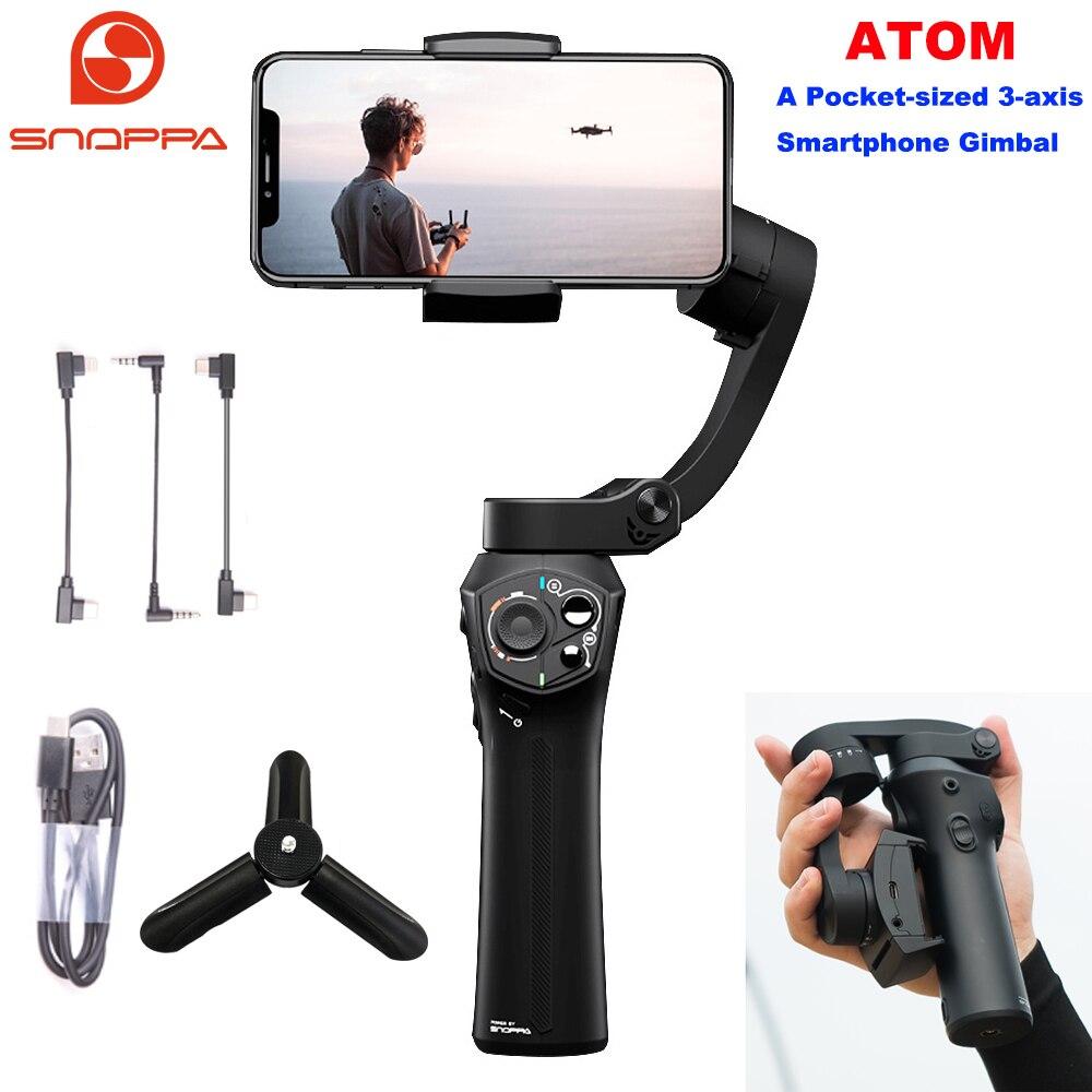 Snoppa Atom 3-Eixo Cardan Handheld Estabilizador Dobrável Pocket-Sized para o iphone Smartphone GoPro & PK de Carregamento Sem Fio lisa 4