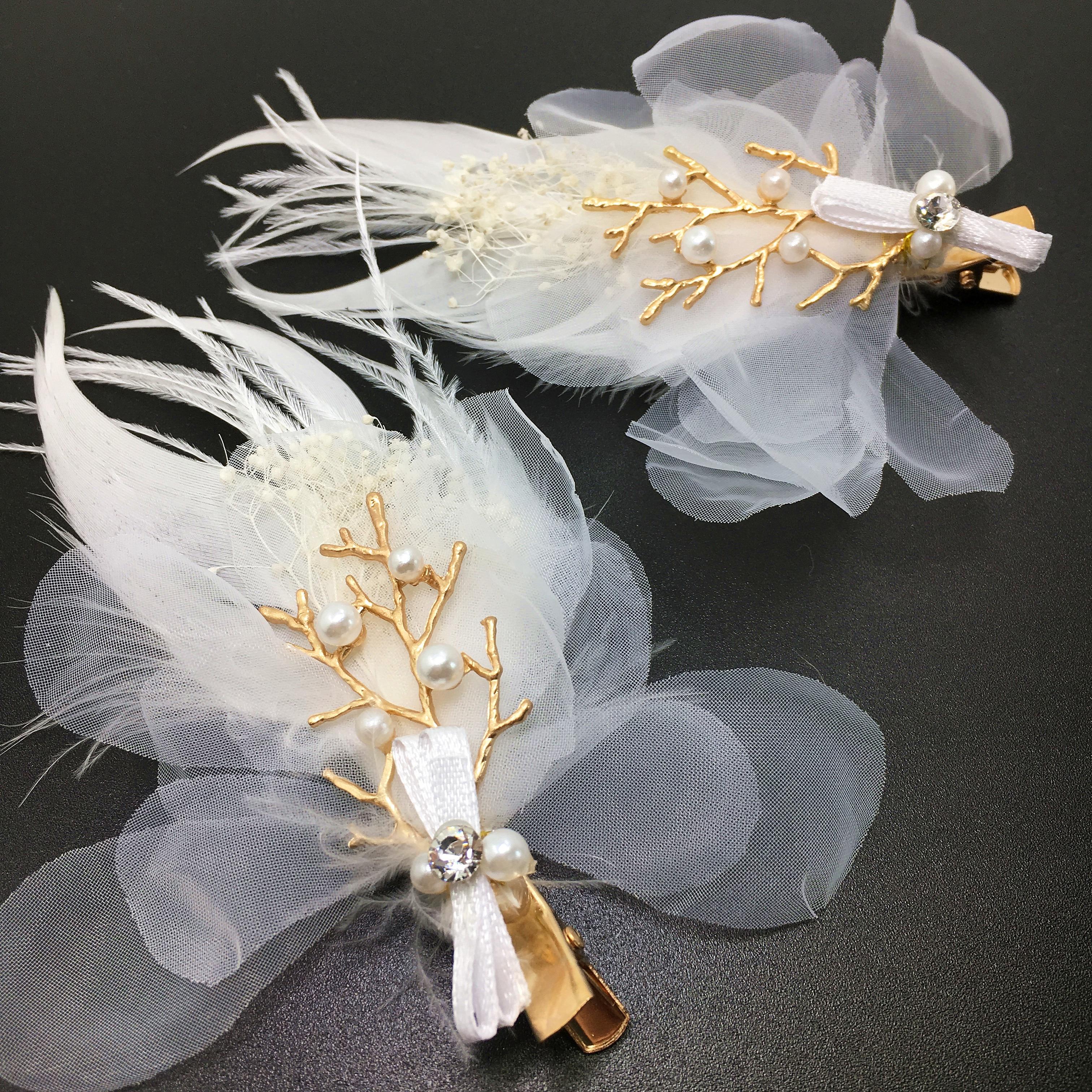 us $11.23 27% off|set of 2 feather hair clip fabric flower pins wedding hair accessories bride headpiece jewelry pince bijoux cheveux wigo1025-in hair