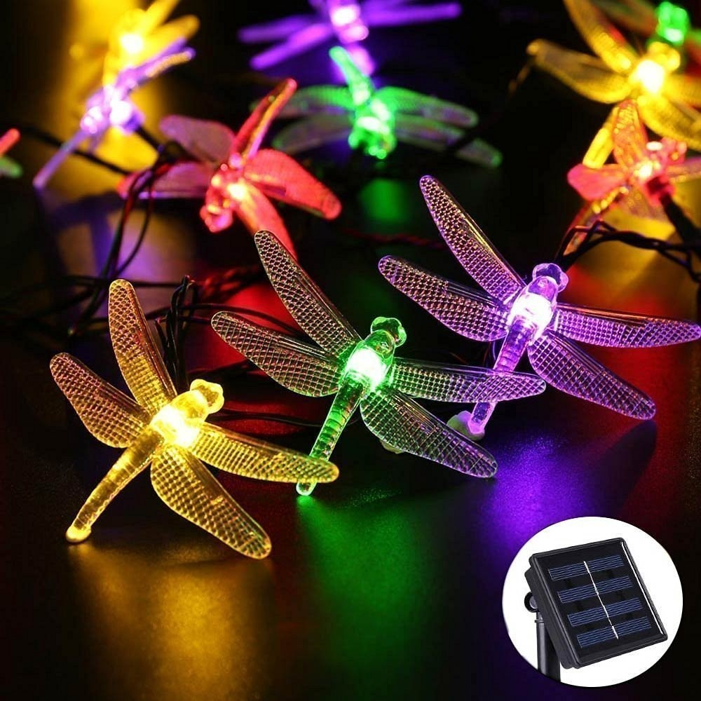 Dragonfly Solar String Lights 20/30 LED Waterproof Fairy Decoration For Indoor/Outdoor Patio Lawn Garden Thanksgiving Christmas