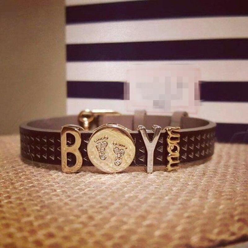 Somsoar изделия мальчик и мама держать браслет набор с DIY сплава Подвески и сетка из нержавеющей стали браслет как мать подарок на день