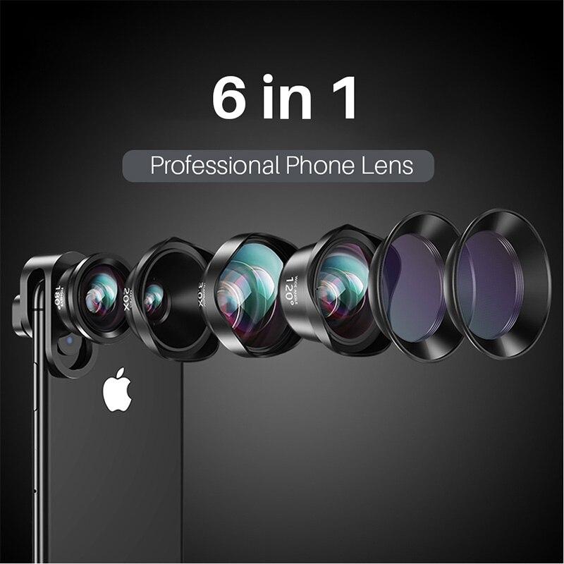 Objectif téléphone 6 en 1 20X objectifs Macro 3X téléobjectif grand Angle objectif Fisheye pour iPhone Xs Max X 8 7 Huawei Piexl 2 Samsung 120 degre