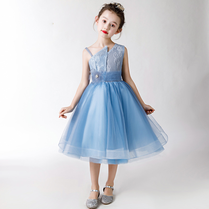 Irregular Collar Mother Daughter Dresses Blue Sleeveless Printing Short Lace Tulle Mother And Daughter Dresses Banquet DressesIrregular Collar Mother Daughter Dresses Blue Sleeveless Printing Short Lace Tulle Mother And Daughter Dresses Banquet Dresses