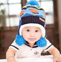 2014 New Lovely Bear Children Knit Hats Baby Boys Winter Fur Hat With Villi Inner Kids