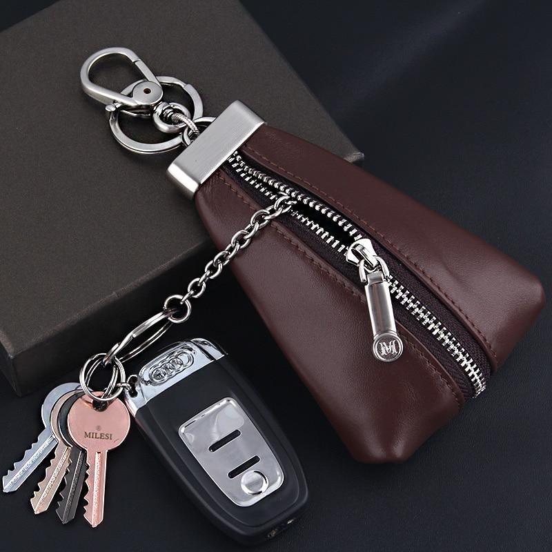 Milesi Genuine Leather Key Holder Wallet Chain Men Luxury Car