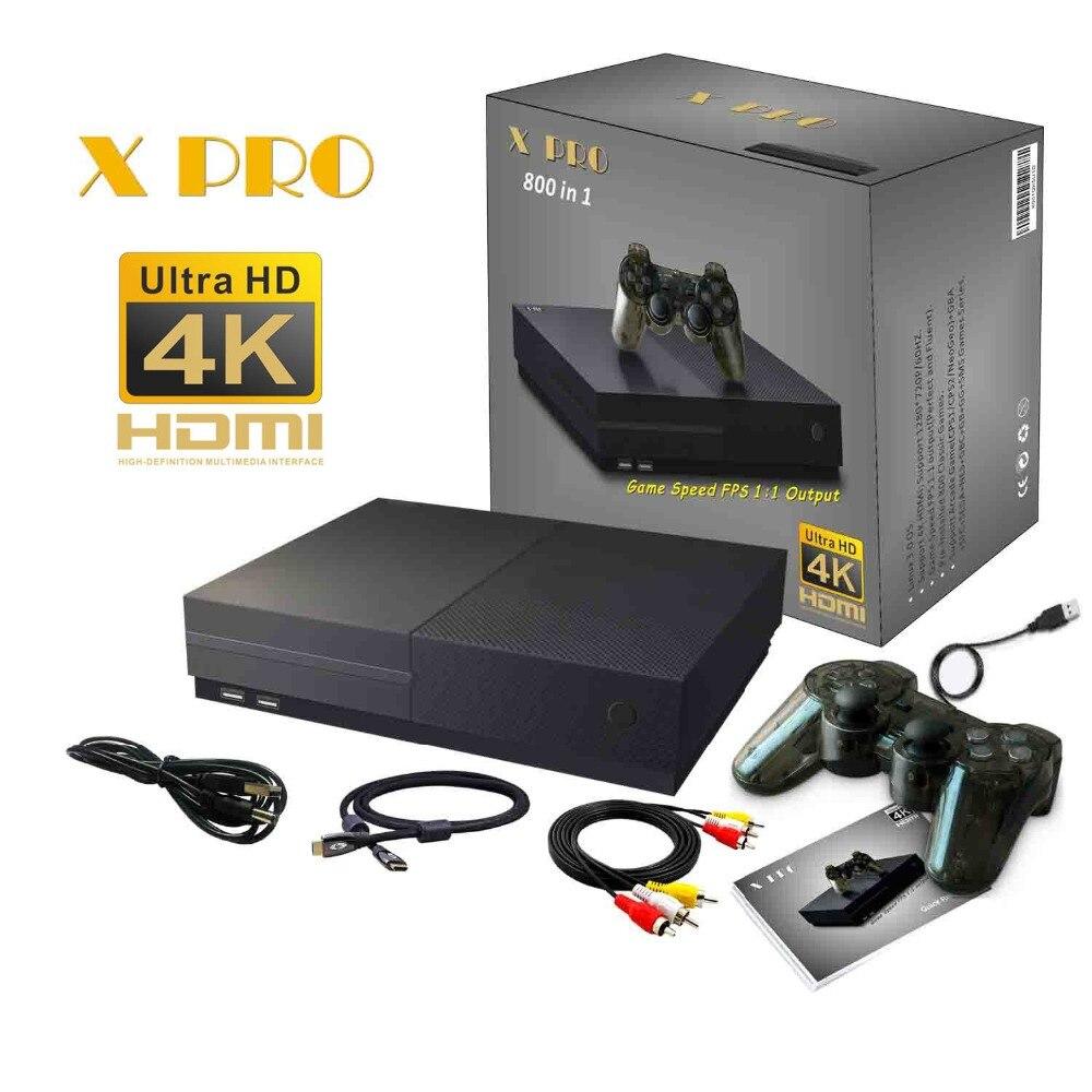64Bit HD Jeu Vidéo Console 4 K HDMI AV Sortie Intégré Rétro 800 Classique Jeux Famille TV Vidéo Rétro De Poche jeu Joueurs X PRO