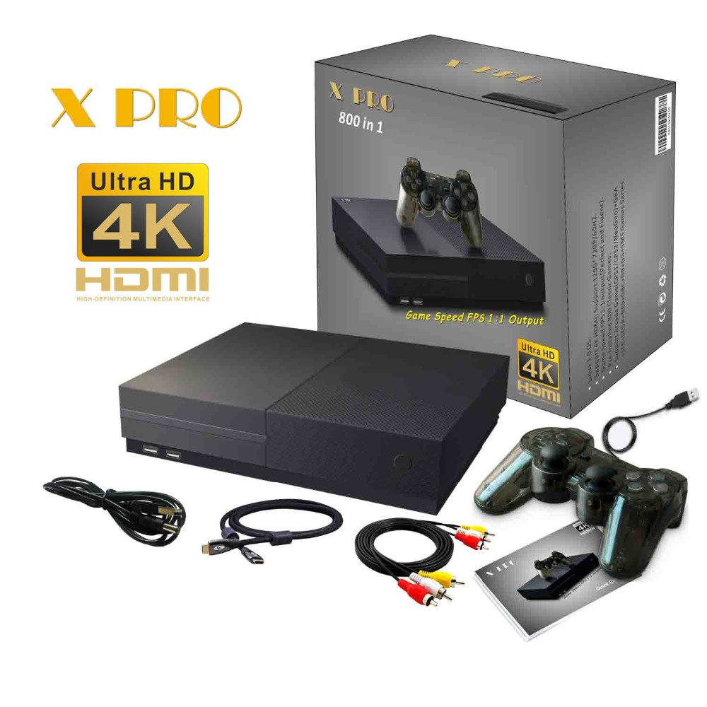 64Bit HD Video Game Console 4K HDMI AV Output Built in Retro 800 Classic Games Family TV Video Retro Handheld Game Players X PRO