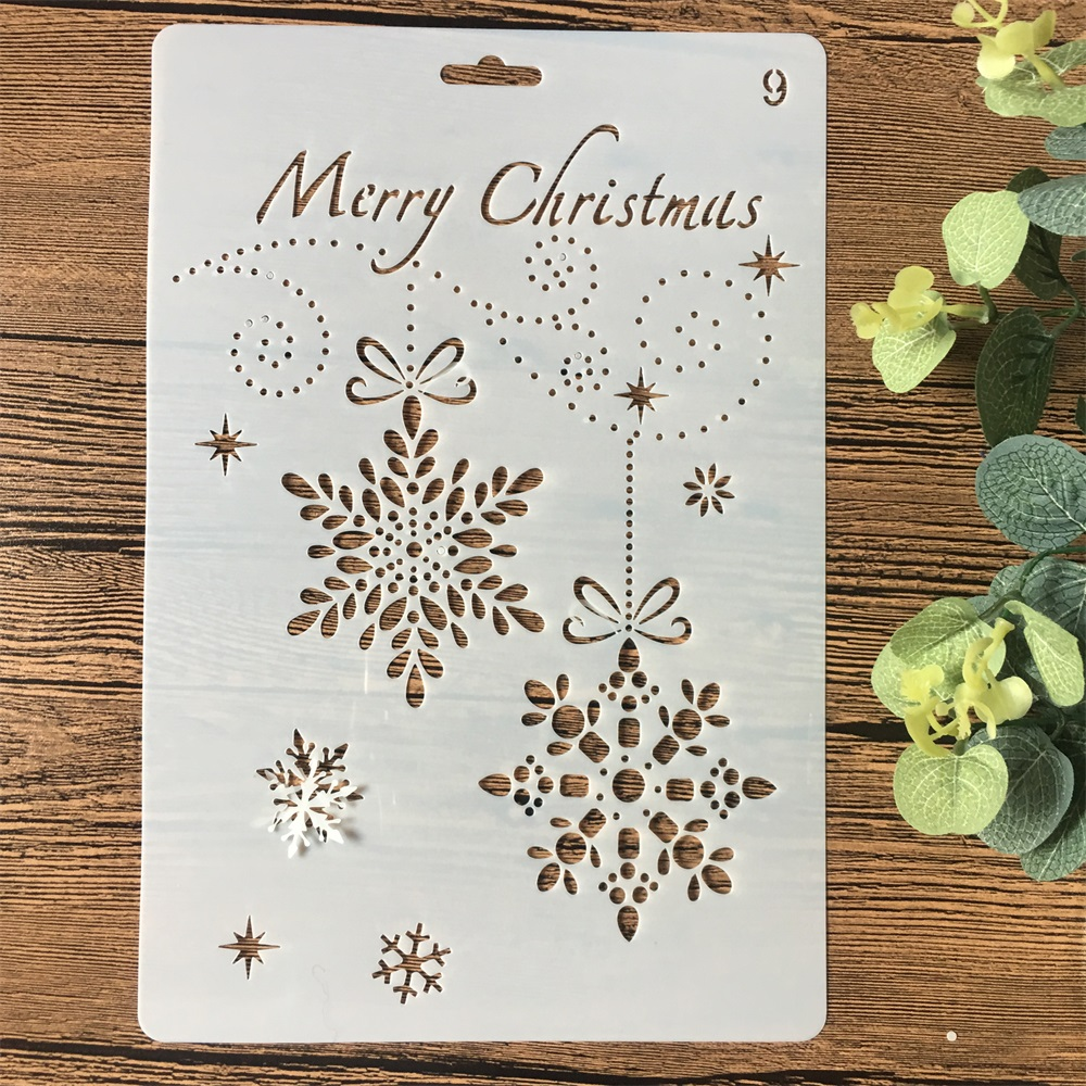 26cm Christmas Snowflake DIY Craft Layering Stencils Wall Painting Scrapbooking Stamping Embossing Album Card Template