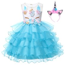 VOGUEON Girls Unicorn Princess Costume Flower Girl Wedding Ball Gown Kids Sleeveless Embroidery Baby Birthday Party Tutu Dress colorful flower girl tutu dress cute tulle princess ball gown for girls rainbow fairy dress kids baby girl birthday party dress