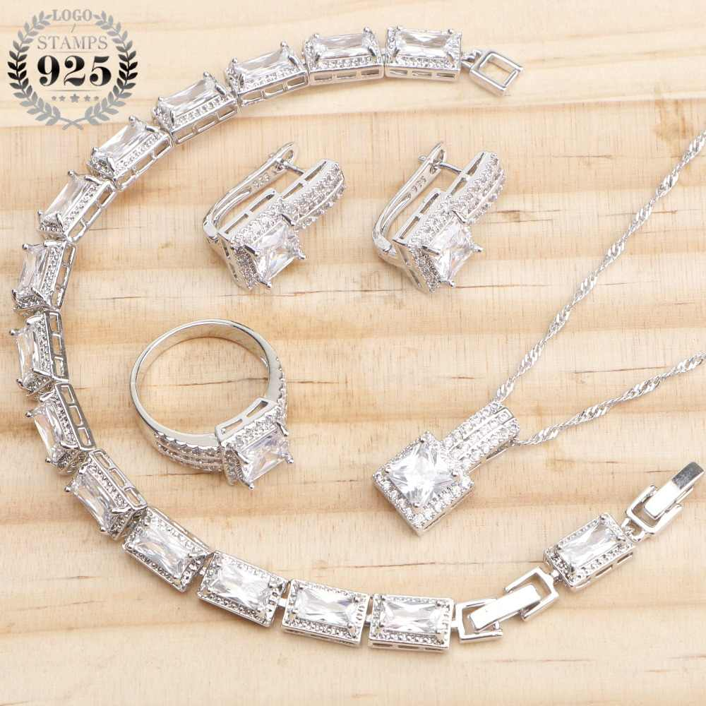 925 Sterling Silver Bridal White CZ Stones Jewelry Sets Wedding Earrings For Women Jewelry Rings Bracelet Necklace Set Gift Box