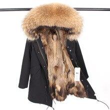 Парка, меховое пальто, Длинная зимняя куртка для женщин, большой воротник из натурального меха енота, Толстая теплая меховая подкладка, парки, верхняя одежда