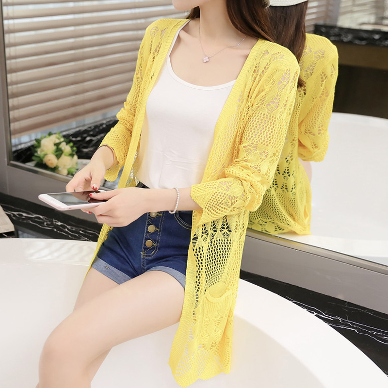 Thin knit cardigan sweater female 2017 new spring jacket in the long section of a hollow loose shawl in summer 1