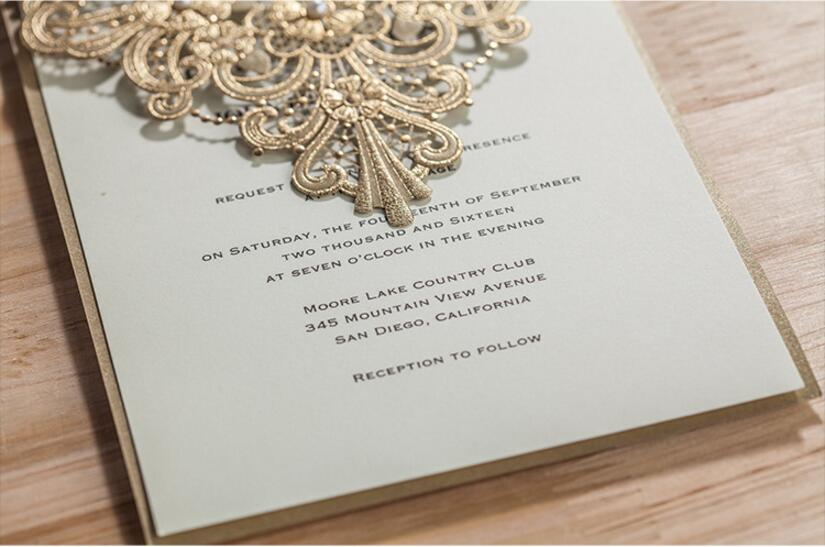 Gold luxurious lace wedding invitation cardspersonalized birthday gold luxurious lace wedding invitation cardspersonalized birthday menu invitations card party kits 100pcs express shipping in cards invitations from stopboris Choice Image