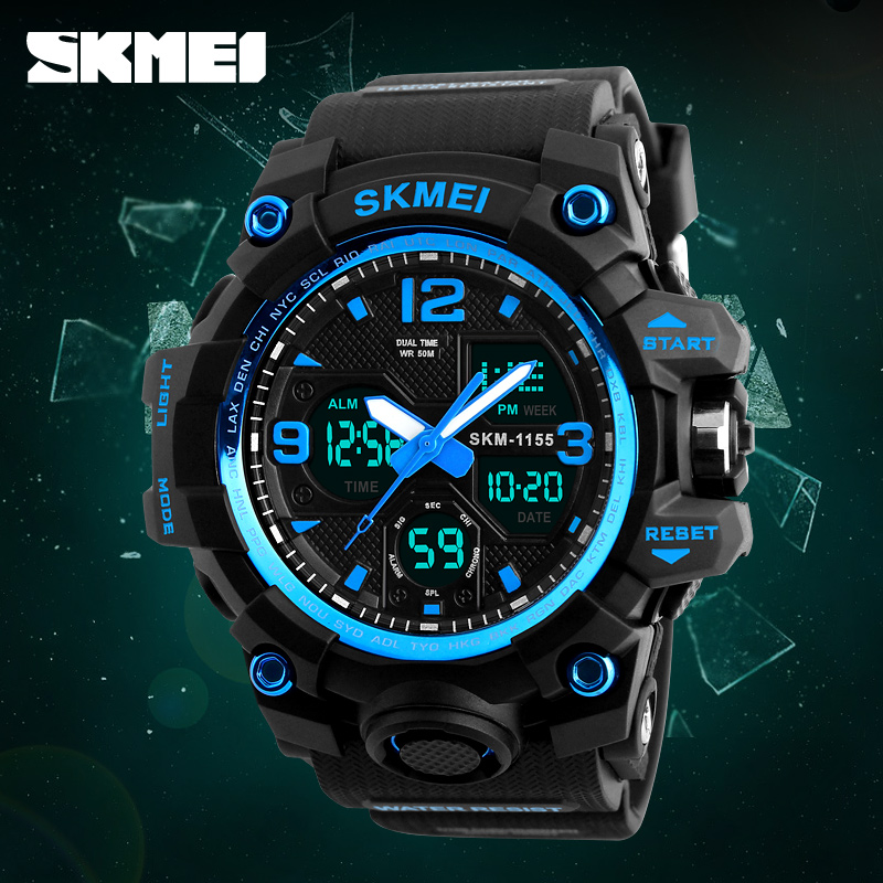 SKMEI Relogio Masculino Men Quartz Digital Watch 2 Time Military Army Sports Watches Waterproof Calendar Chronograph Wristwatch in Sports Watches from Watches
