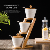 European Style creative gift Ceramic Salt Shaker Kitchen Supplies Salt Jar Condiments Containers with Bamboo Cover Tray