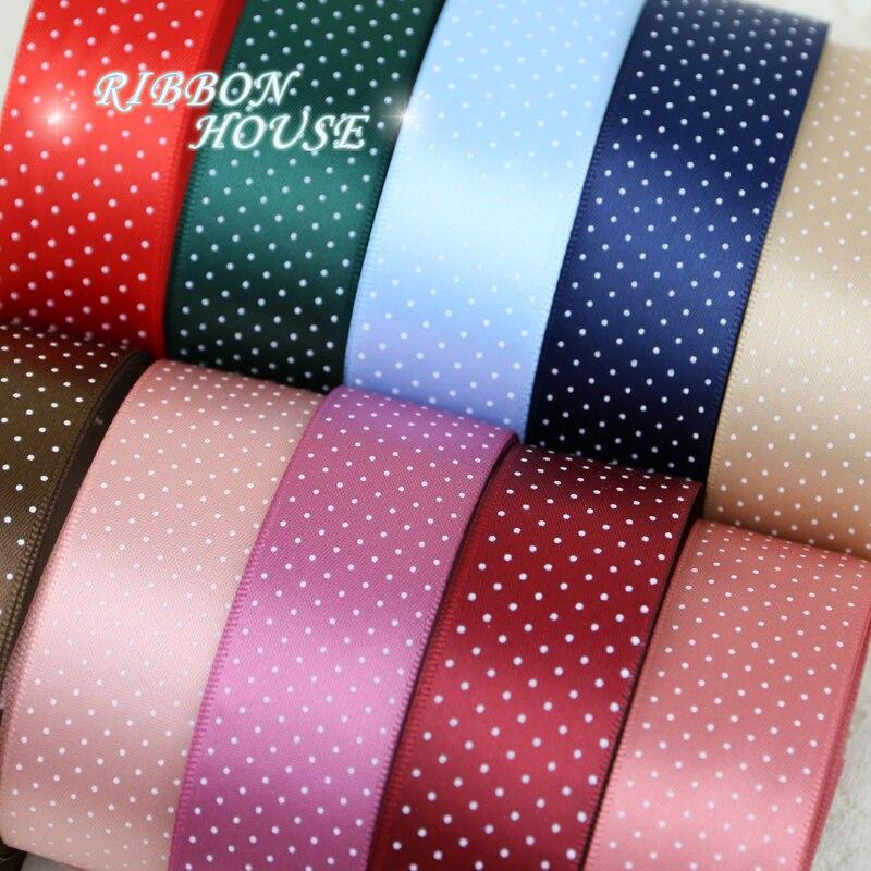 10mm PINK and WHITE Dots HOT PINK 10 Metres Polka Dot Grosgrain Ribbon