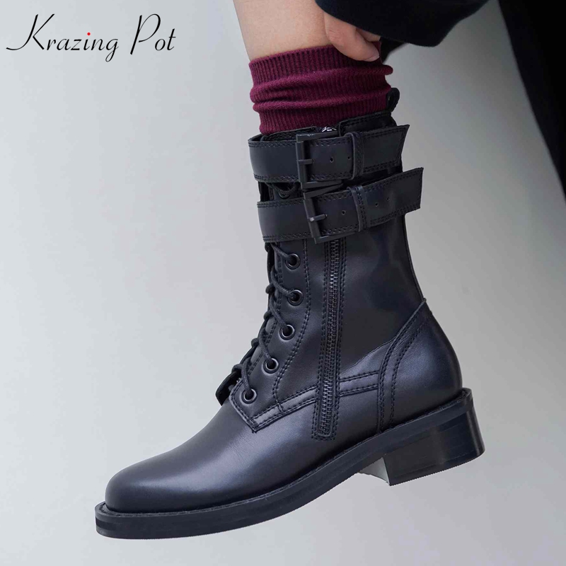 Krazing Pot beauty cow leather cow suede thick heels European round toe handsome rock punk style black color Chelsea boots L05 krazing pot cow leather low heels gladiator round toe hollywood european chelsea boots plus size streetwear nude boots l83