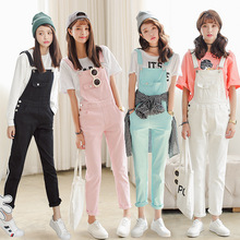 Sweet fashion ladies fresh candy color denim jumpsuit mid waist full length casual overalls suspender trousers for women