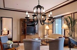 Image 3 - נורדי אמריקאי coutry סגנון מודרני נר נברשת תאורת גופי בציר לבן/שחור יצוק ברזל בית תאורה E14