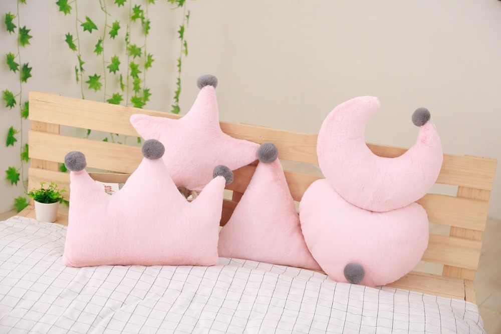 Geometryczne krótkie pluszowe siedzisko poduszka PP bawełna rdzeń gwiazda serce korona zabawka lalka poduszka na sofę poduszka Home Decoration miękka poduszka podróżna