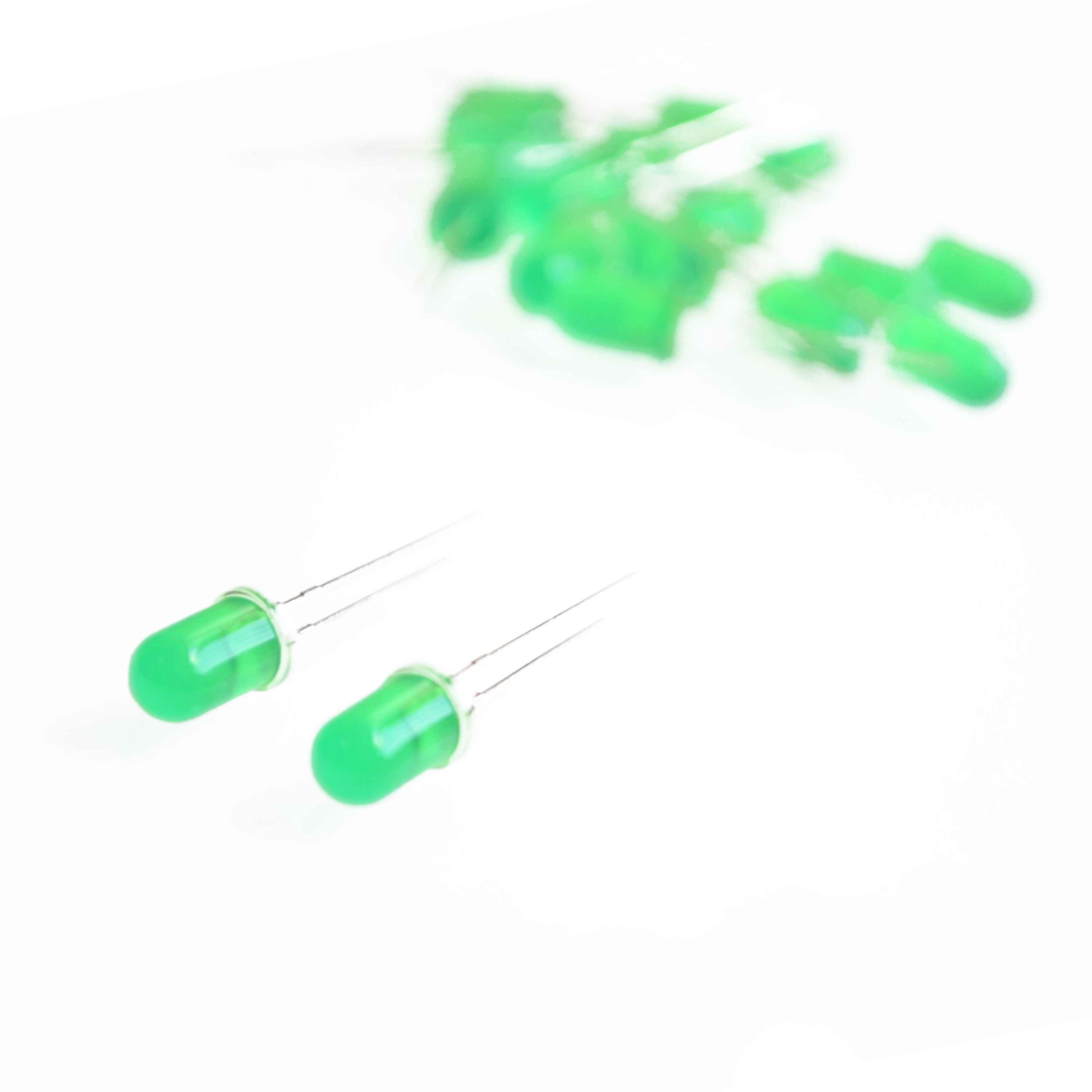 10 шт./партия, 5 мм, зеленый светодиодный светильник, светоизлучающие диоды