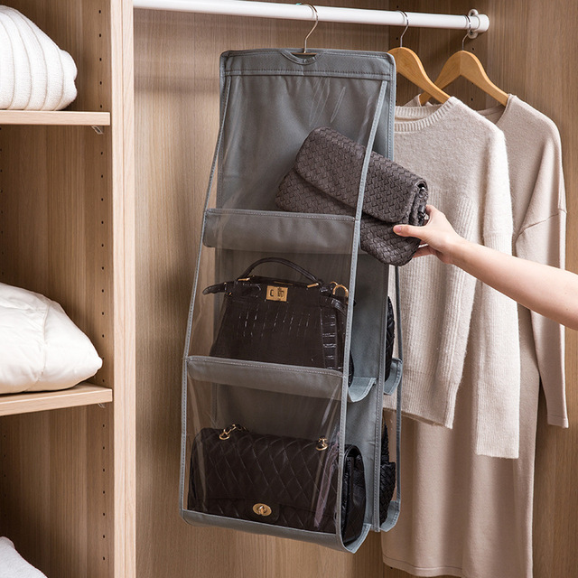 Luluhut double side bolsa organizador para 6 bolsos gancho para sacos armário pendurado saco de armazenamento do armário armário pendurado saco