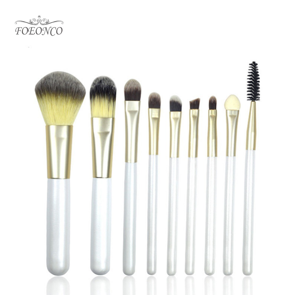 FOEONCO 9pc Make up Brush Set Nature Bristle Eyeshadow Lip Powder Brushes Beauty Makeup Brushes Kabuki Kwasten Brush Kits Tool nature explorer box set
