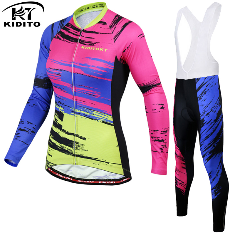KIDITOKT 2018 Cycling Set Winter Thermal Fleece Cycling Mountain Long Sleeve Bicycle Jersey Cycling Clothing Womens Cycling