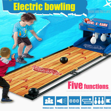 Free DHL 2PC Electric bowling children toy bowling set automatic rebound scoring lighting outdoor parent-child interaction game