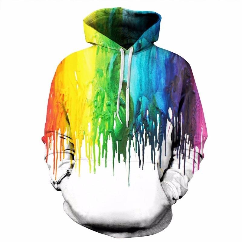 2018 New Autumn Winter Fashion Cap Hoodies Men/women Long Sleeve Pullovers Print Paint Color Blocks Hoody 3d Sweatshirts S-6XL