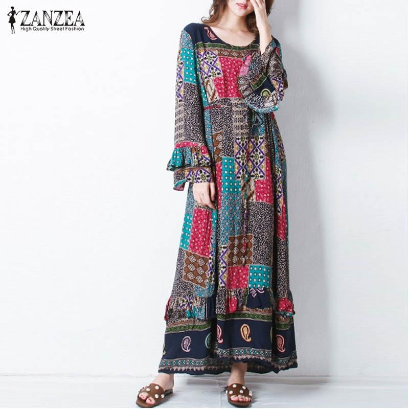 ZANZEA Women Autumn O Neck Long Butterfly Sleeve Boho Floral Print Flouncing Belt Loose Casual Party Maxi Long Dress Plus Size