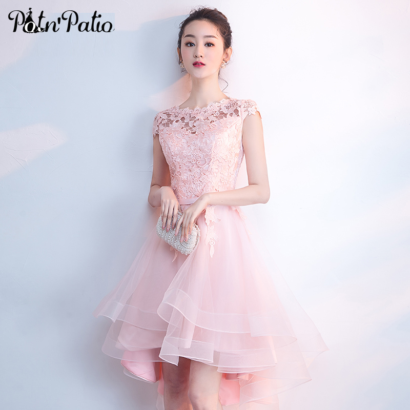 Pink Short Graduation Dresses 2019 Summer Elegant Lace Tulle High Low Junior Homecoming Dresses