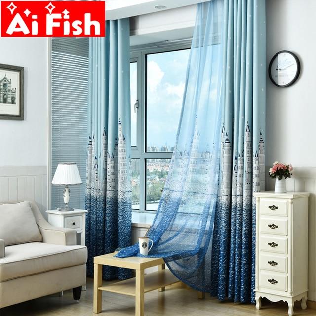 Elegant Moderne Kurze Blind Vorhang Für Wohnzimmer Schlafzimmer Blau Und Kaffee  Meer Burg Muster Cartoon Kinder Zimmer