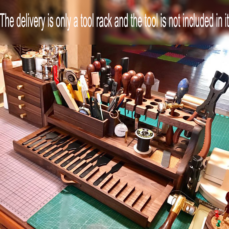 Black Walnut Wood Leather Diy Tool Storage Tool Box In