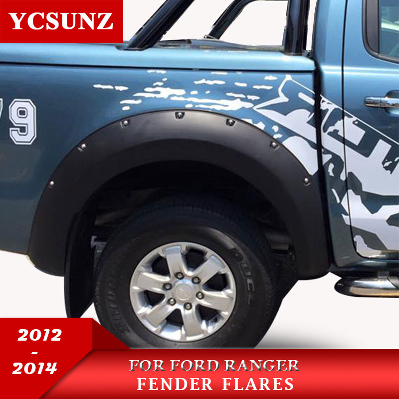 2012-2014 Fender Flare Pour Ford Ranger T6 Accessoires Noir Couleur Garde-Boue Pour Ford Ranger 2012 2013 2014 De Voiture fusées Ycsunz