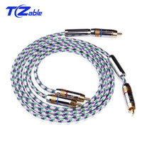 Hifi Rca Cable 6N OFC 2 Male to 2 Male RCA Stereo Audio Cable For Speaker DVD Player Gold Plated 0.5/0.75/1/1.5/2/3/5 Meter