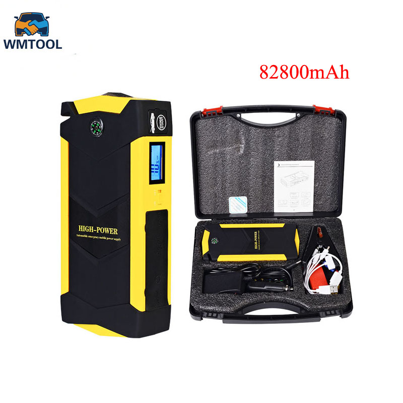 New 82800mAh Capacity Car Jump Starter 12V Multi functional 4 USB Booster Charger Battery Power Bank Emergency Mobile Power Tool 4 usb car jump starter auto booster power bank 12v emergency battery charger multi function 3 led light with power adapter
