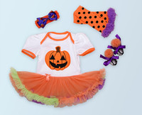 Children S Halloween Clothing Set Baby Girl Rompers Tutu Skirts Lace Leg Warmer Bows Headband Flower
