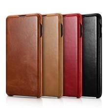 ICarer pour Samsung Galaxy S20 Ultra S10 S10 + S9 S9 + Plus S8 bord incurvé série Vintage étui en cuir véritable
