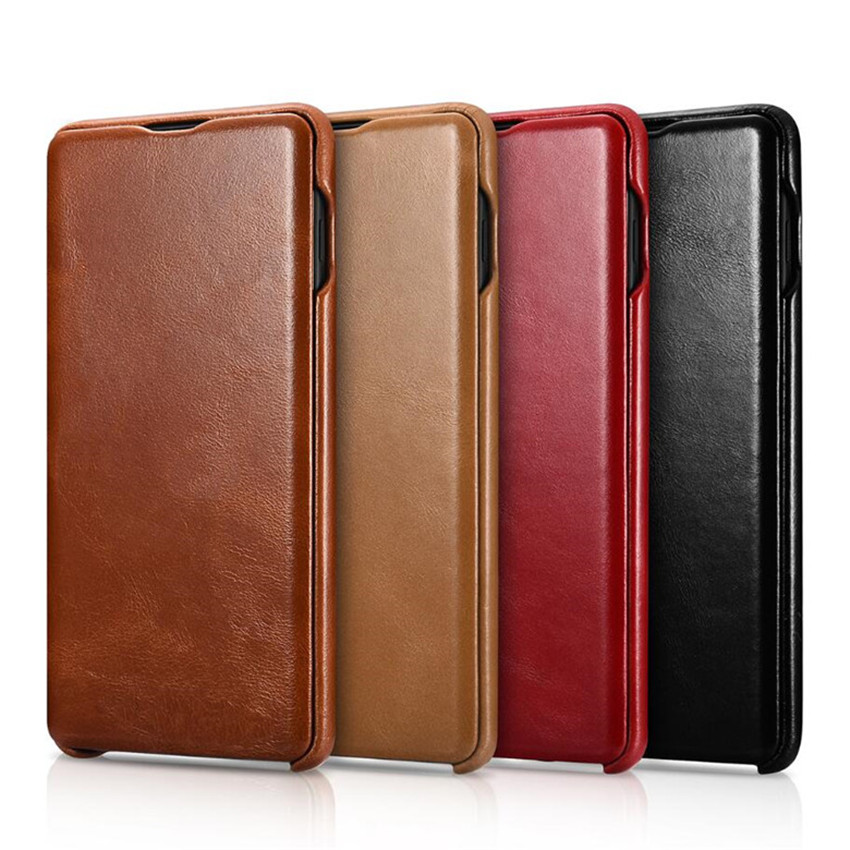 iCarer for Samsung Galaxy S10 S10  S9 S9  Plus Note8 Note 9  Curved Edge Vintage Series Genuine Leather Casefor samsung  galaxyleather casecase leather