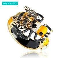 MECHOSEN Unique Enamel Esmalte Bees Bangles AAA Zircon Pulseira Masculina Copper Crystal Insect Bileklik Luxury Jewelry
