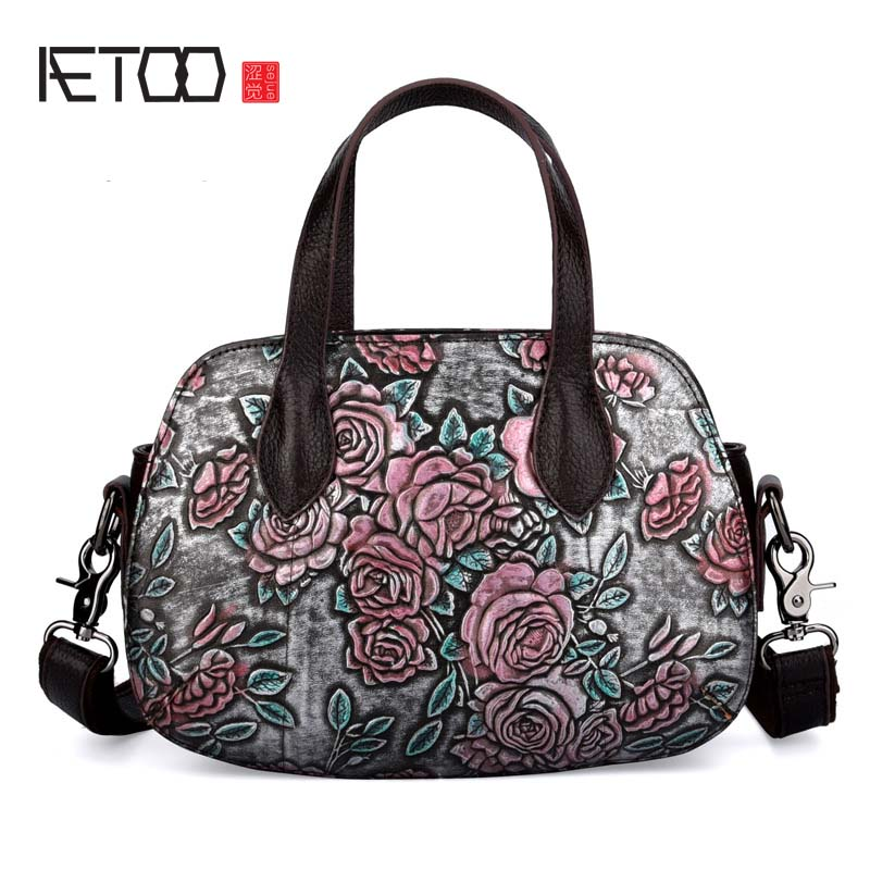 AETOO The new embossed rub color bag leather Fashion Casual Lady Shoulder Messenger Bag Genuine Leather Rose Handbag aetoo the new oil wax cow leather bags real leather bag fashion in europe and america big capacity of the bag