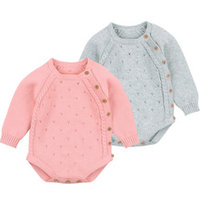 Autumn Baby Knitted Rompers Sweater Girl Long-sleeve Overalls Infant Princess Cotton Clothes Romper